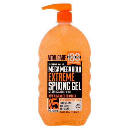 (2 Pack) Vital Care Mega Mega Hold Extreme Spiking Hair Gel, 40 oz