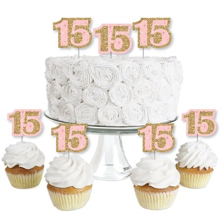 Mis Quince Anos - Dessert Cupcake Toppers - Quinceanera Sweet 15 Birthday Party Clear Treat Picks - Set of 24 (Quince Anos Cake Top)