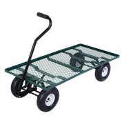 Costway Wagon Garden Cart Nursery Steel Mesh Deck Trailer Heavy Duty Cart Yard Gardening