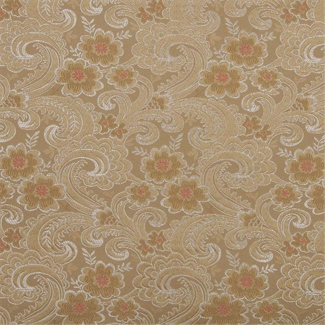 Designer Fabrics D121 54 in. Wide Gold, White And Red, Paisley Floral Brocade Upholstery Fabric