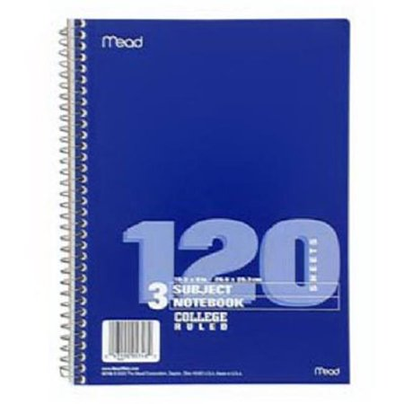 Mead 05748 8 x 0.5 in. White Paper Spiral Notebook - 120 Count White Paper Spiral