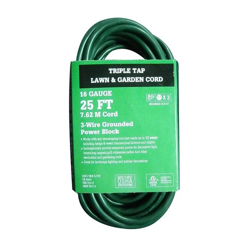 WorkChoice 25' Triple Tap Lawn and Garden Extension Cord, Green