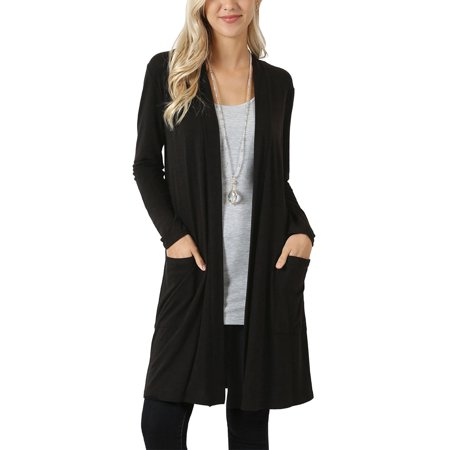 (Womens Long Sleeve Slouchy Pocket Open Front Slim Cardigan RC-1440P-S-Black)