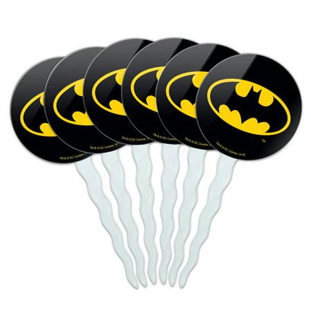 Batman Cupcake Picks (Batman Classic Bat Shield Logo Cupcake Picks Toppers Decoration Set of)