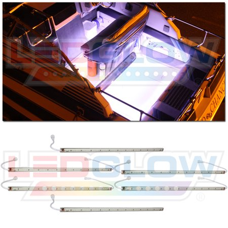 LEDGlow 6pc White LED Boat Deck & Cabin Lighting