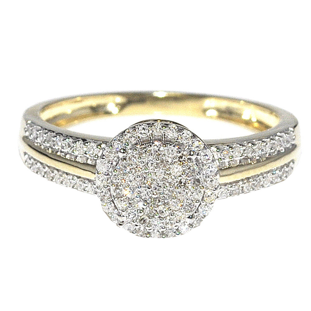 1/4cttw Diamond Engagement Ring Bridal Ring 10K Yellow Gold Halo Style 8mm New