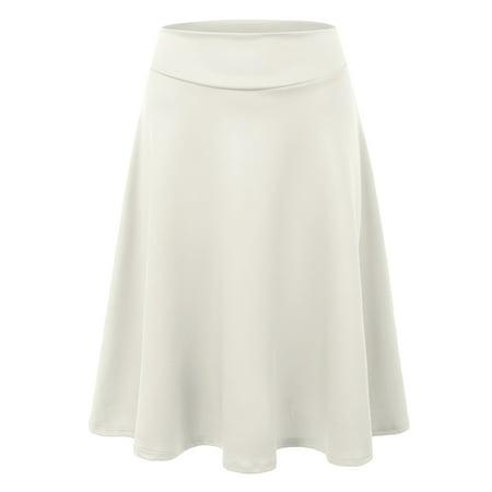 7477721ee Doublju - Doublju Women's Versatile Elastic Waist Flared Mini Skater Skirt  (Plus size available) IVORY L - Walmart.com
