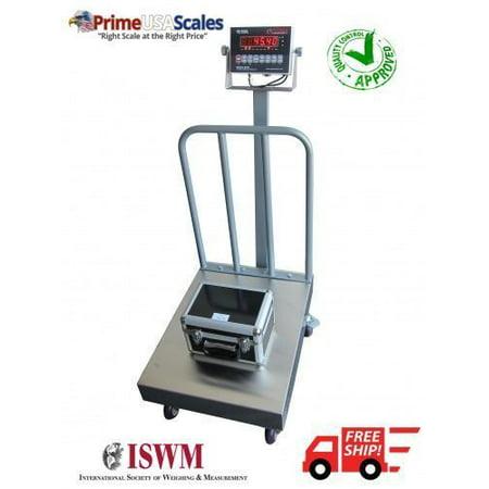 "18"" x 24"" Bench Scale Floor Scale Wheels Hand Rail 500 lb NTEP OP-915BW"