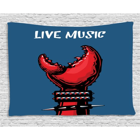 Indie Tapestry, Crab Claw with Spiky Wristbands Heavy Metal Rock Live Music Theme Inscription Art, Wall Hanging for Bedroom Living Room Dorm Decor, 60W X 40L Inches, Blue Red Black, by Ambesonne (Halloween Themed Metal Music)