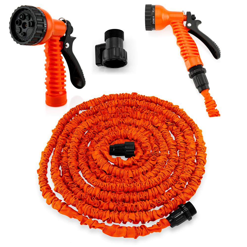 Expandable Flexible Stronger Deluxe Garden Water Hose w/ Spray Nozzle