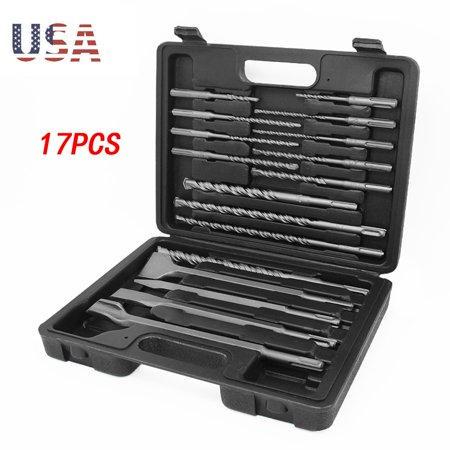 17Pc Drill Bils&Chisel SDS Plus R otary Hammer Bils Set Fit Bosch Hilti Plus