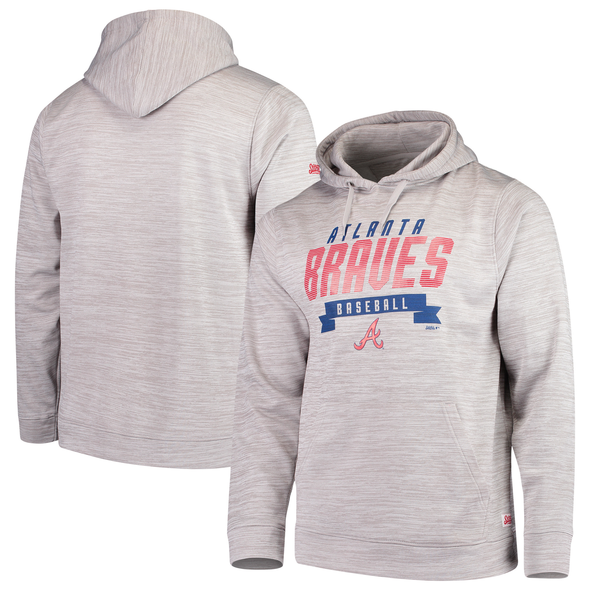 Atlanta Braves Stitches Poly Pullover Hoodie - Heathered Gray
