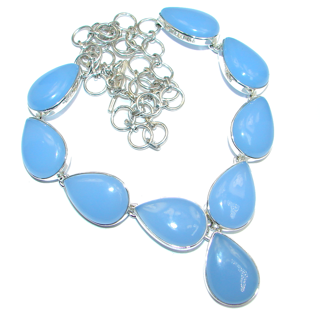 Aura Of Beauty Genuine Chalcedony Agate Sterling Silver handmade necklace by SilverRush Style by