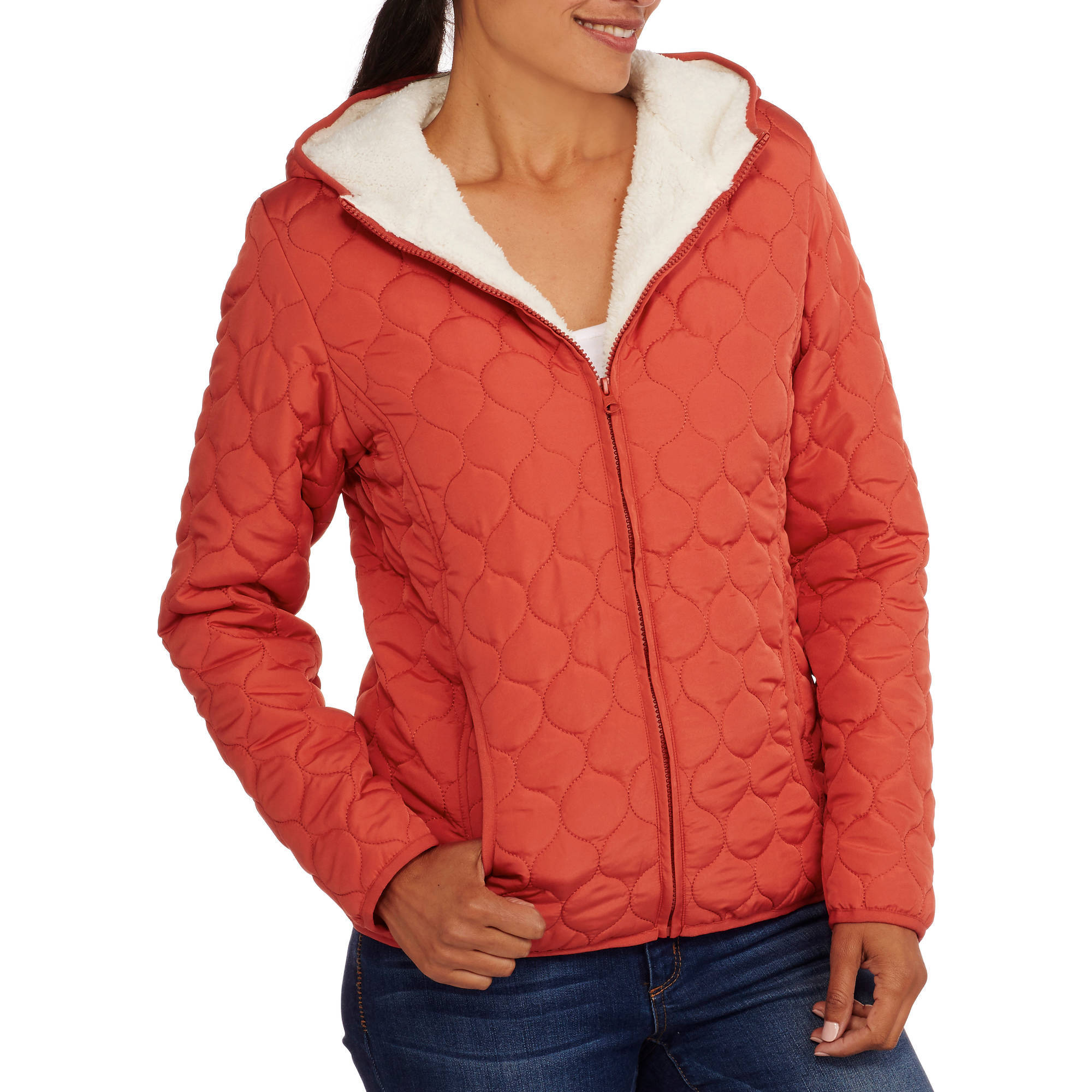 Climate Concepts Women's Hooded Quilted Jacket with Cozy Sherpa Lining