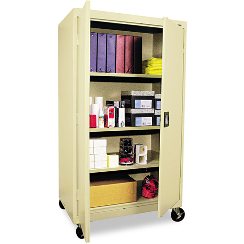 Alera Mobile Storage Cabinet, w/ Adjustable Shelves, 36w x 24d x 66h, Putty