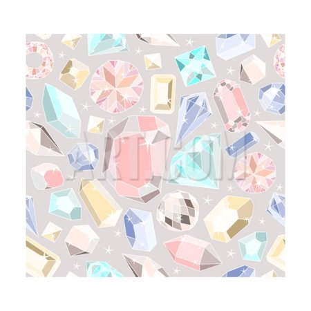 Seamless Pastel Diamonds Pattern. Background With Colorful Gemstones Print Wall Art By cherry blossom girl