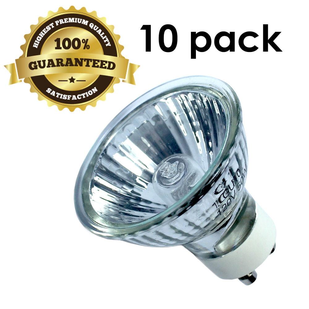 [10pk] GU10 50W 120V Bulb Halogen Flood Light Bulb Dimmable w/ Cover Glass, WMLS2065