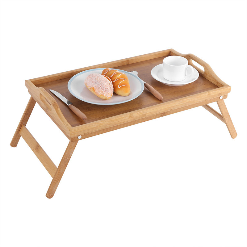 Portable Breakfast Laptop Desk Bamboo Wood Bed Tray