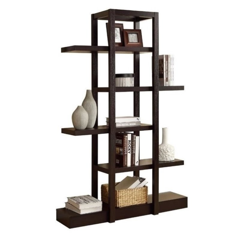 "Bowery Hill 71"" Open Concept Display Etagere in Cappuccino by Bowery Hill"