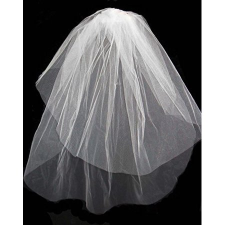 Girls 1st Communion Wedding White Veil 2 layers Tulle Headpiece - First Communion Veils And Headpieces