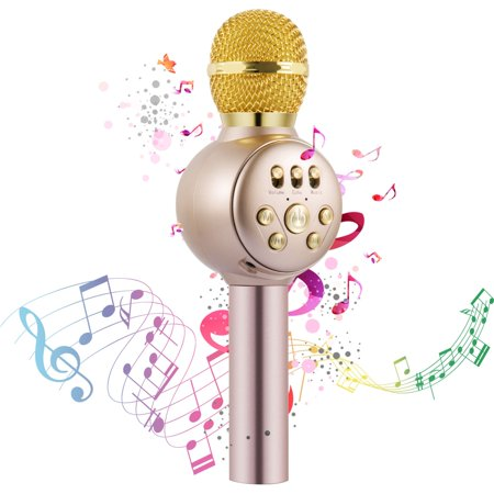 Wireless Karaoke Microphone,Professional Portable Bluetooth Handheld  Microphone Home Party Birthday Speaker Machine for Singing Recording for