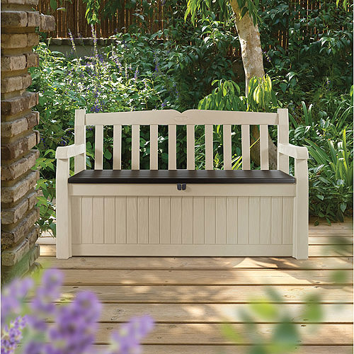Keter Eden All Weather Outdoor Bench Deck Box Furniture 70 Gal, Beige / Brown