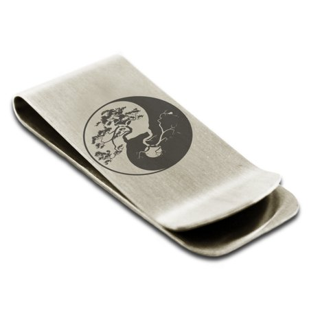 Stainless Steel Bonsai Tree Yin Yang Symbols Engraved Money Clip Credit Card Holder