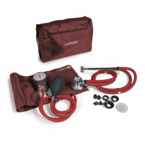 Lumiscope Burgundy Blood Pressure and Stethoscope Kit