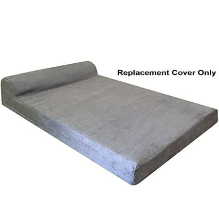"""Dogbed4less HeadRest Dog Pet Bed Microsuede Gray Color External Cover, Replacement Cover only - XXL 55""""X37""""X4"""" Size - image 1 de 1"""