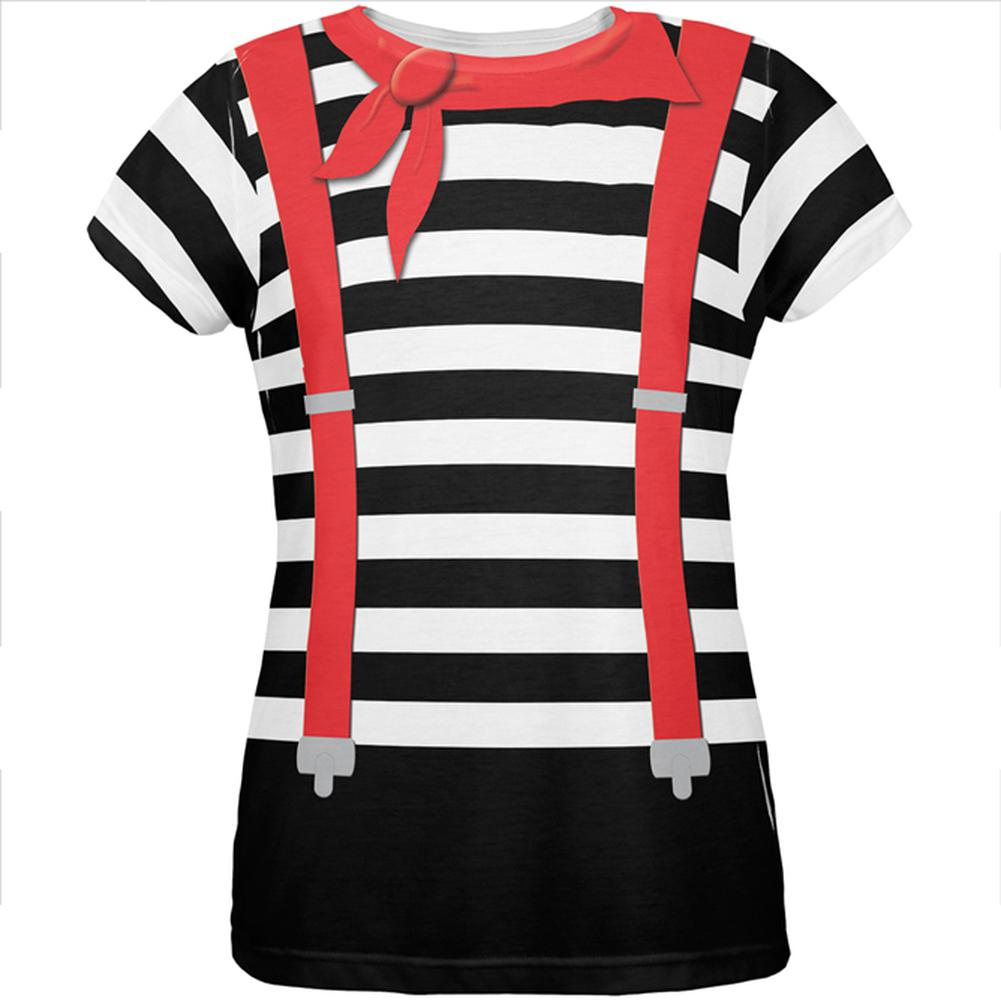 Halloween French Mime Costume All Over Womens T Shirt