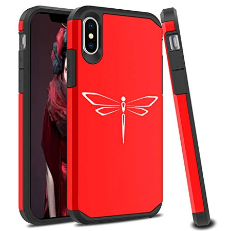 Shockproof SI Impact Hard Soft Case Cover Protector for Apple iPhone  Dragonfly (Red, for Apple iPhone X/iPhone Xs)