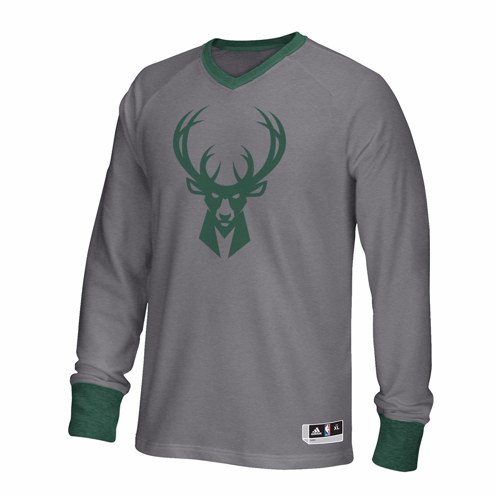 Milwaukee Bucks NBA Adidas Grey 2016 Authentic On-Court Christmas Day Shooter  Shirt For Men