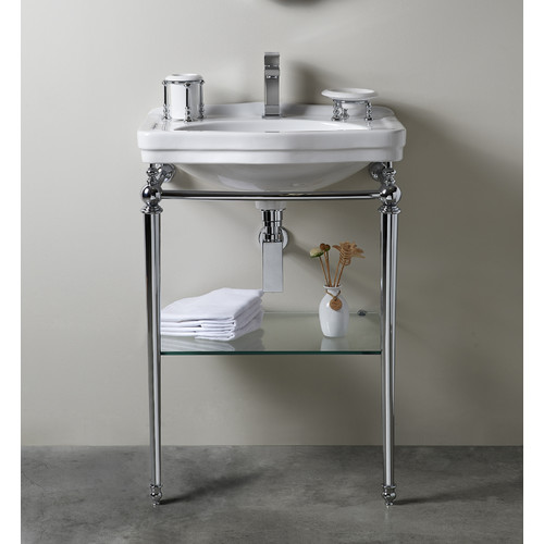 Bissonnet Florian Londra Console Table Bathroom Sink with Towel Bar and Shelf