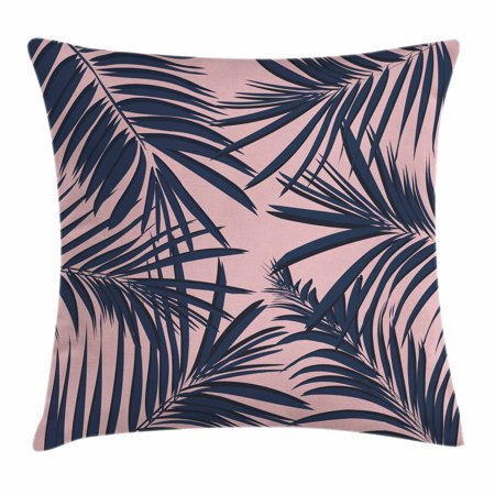 Navy and Blush Throw Pillow Cushion Cover, Summer Exotic Floral Tropical Palm Tree Leaf Banana Plant Hawaii, Decorative Square Accent Pillow Case, 16 X 16 Inches, Night Blue Pale Pink,