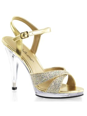 10041a3fb Product Image Womens Sparkling Gold Glitter Sandals 4.5 Inch High Heel  Strappy Dress Shoes