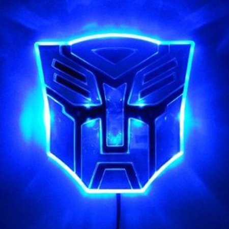 Edge Glowing LED Transformers Autobots Car 3d Logo Emblem Badge Decal- BLUE -LED Transformers Autobots emblem (Transformers Decepticons emblem is available, please search it in our online store)-Edge glowing, chromium designing-Color available in Red, Blue, White, Amber-Input voltage: 12V, directly hook to car battery, tail or brake light-3M self-adhesive tape on back, two power cables