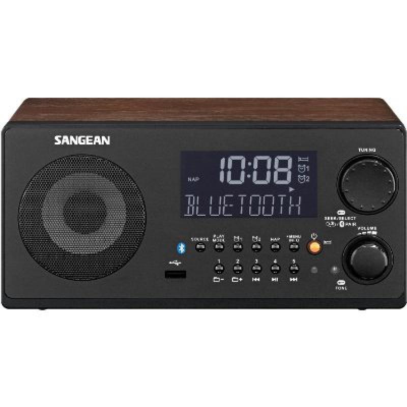 Sangean WR-22WL AM FM-RDS Bluetooth USB Table-Top Digital Tuning Receiver (Dark Walnut) by Sangean