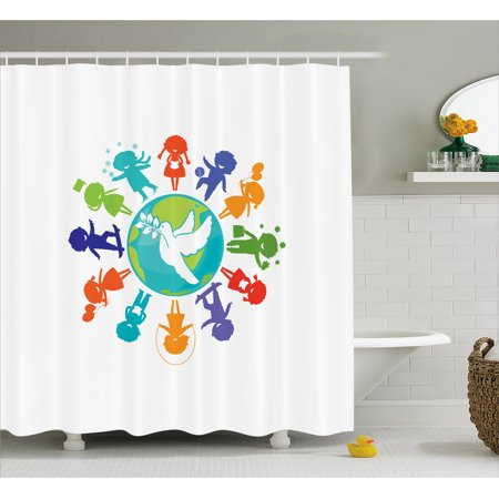 Youth Shower Curtain Cute Children Silhouettes Around The World