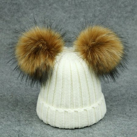 Parent-child raccoon double ball knitted hat - image 3 de 3