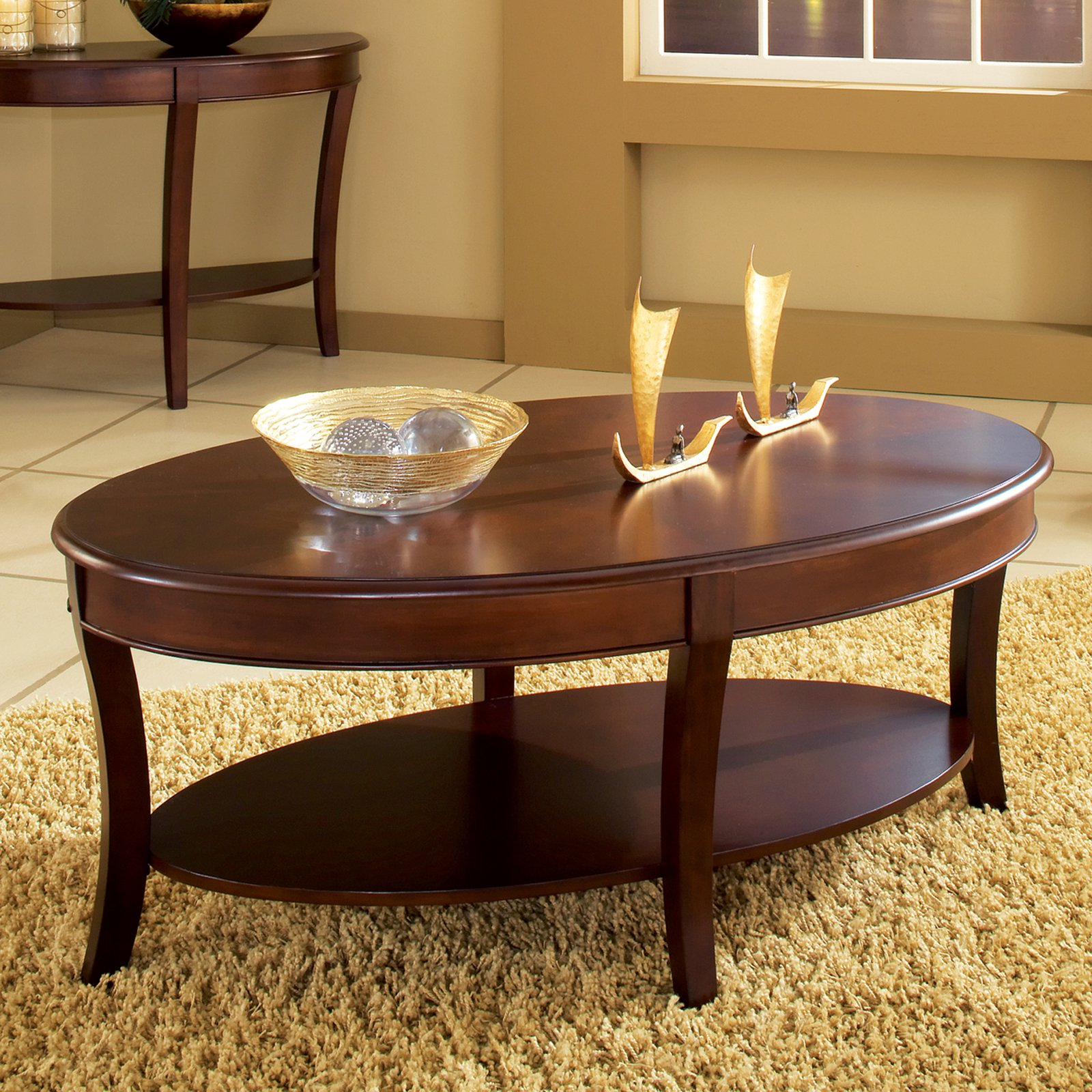 steve silver troy oval cherry wood coffee table - walmart