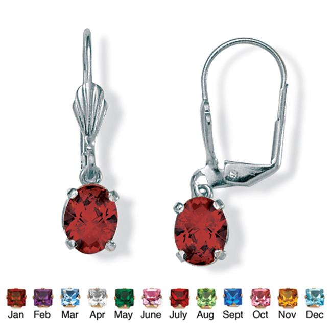 PalmBeach Jewelry 4785101 Oval-Cut Simulated Birthstone Silvertone Metal Drop Earrings January - Simulated Garnet