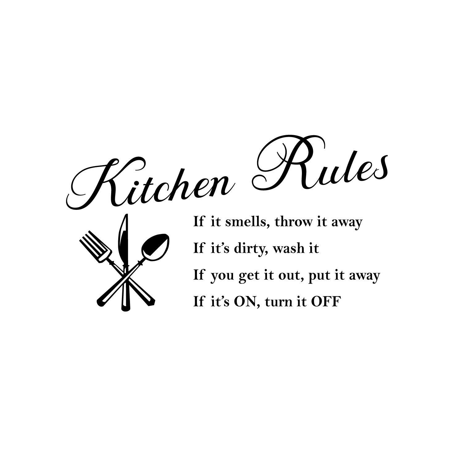 Kitchen Rules Words Wall Stickers Decal Home Decor Vinyl Art Mural