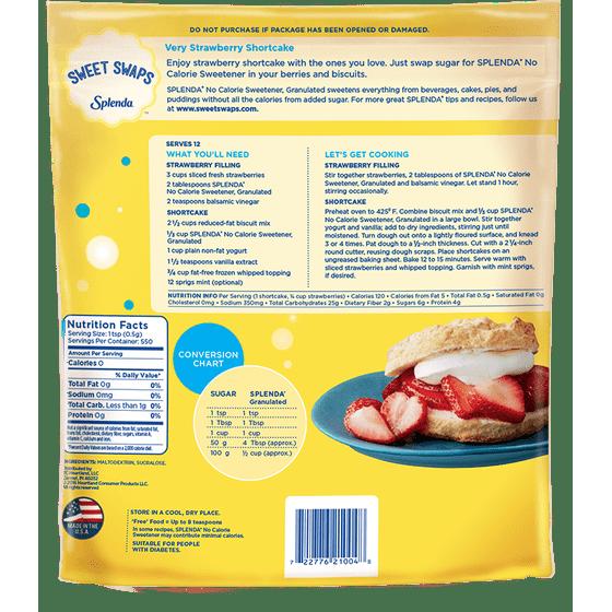 Splenda No Calorie Sweetener Granulated Zero Calorie Sugar