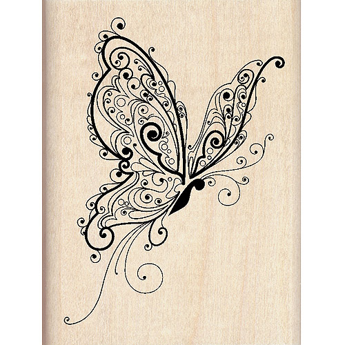 "Inkadinkado Mounted Rubber Stamp, Butterfly 3"" x 2.25"""