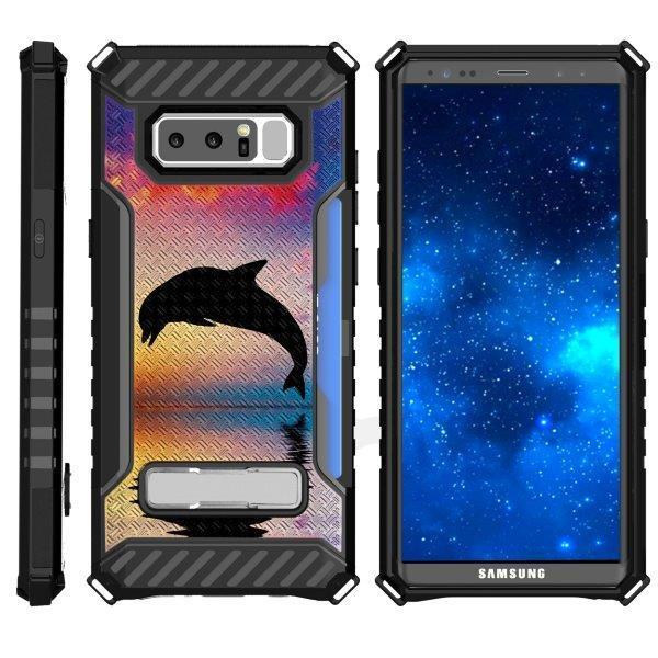 TurtleArmor ® | For Samsung Galaxy Note 8 N950 [Card Holder Case] Durable High Impact Hybrid Armor Kickstand Case - Dolphin Jump