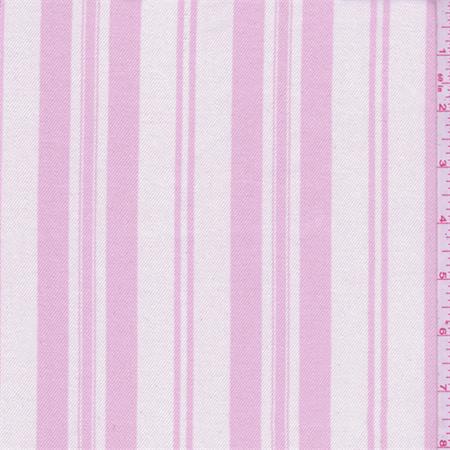 - Shabby Chic White/Creamy Pink Stripe Twill, Fabric By the Yard