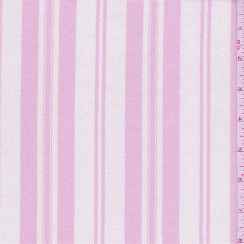 Shabby Chic White/Creamy Pink Stripe Twill, Fabric By the Yard