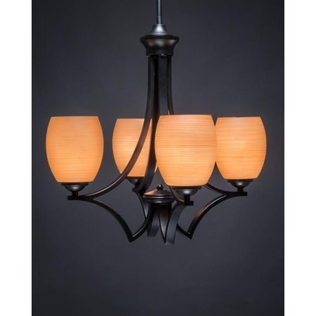 Toltec Lighting-564-MB-625-Zilo - 20' Four Light Chandelier  Matte (Chandelier Toltec Lighting)