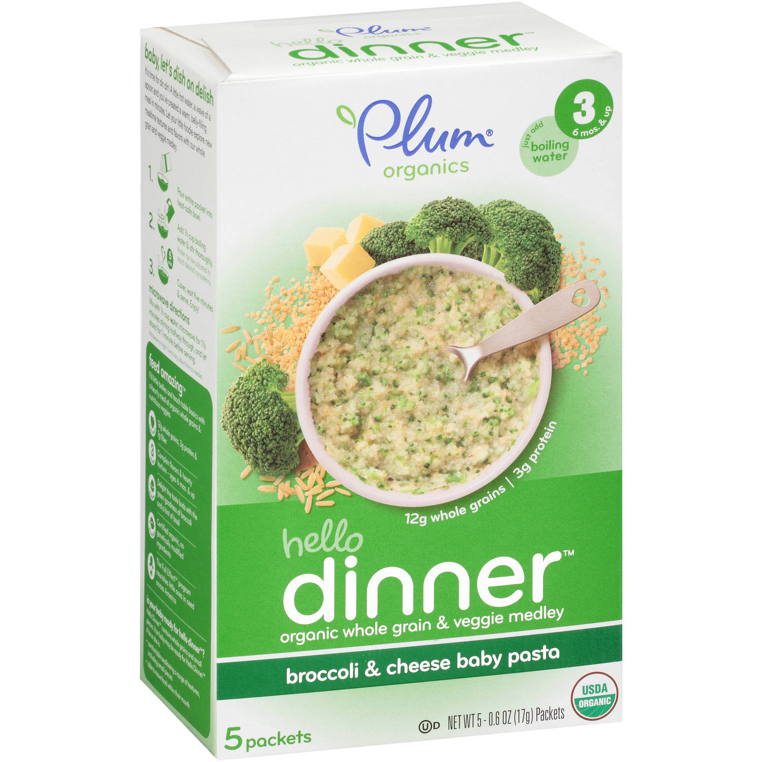 Plum Organics Hello Dinner Broccoli & Cheese Baby Pasta Stage 3 Baby Food, 0.6 oz, 5 count (Pack of 6)