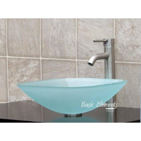 - ELIMAX'S GD04F Frosted Square Glass Vessel Sink + Brush Nickel Faucet L07, Pop Up Drain & Mounting Ring